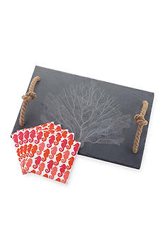 Mud Pie Fan Coral Slate Cutting Board Set