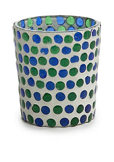 Mud Pie Green and Blue Dot Glass Votive