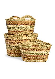Caffco 3-Pack Burlap Oval Ear Handle Baskets