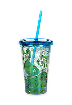 Clay Art Blue Green Peacock 16-oz. Tumbler