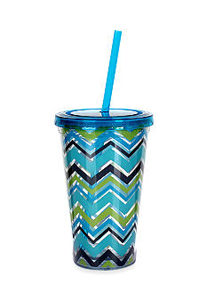 Clay Art Blue Chevron 16-oz. Tumbler