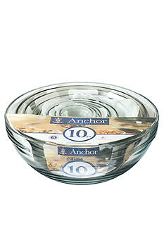 Anchor Hocking Glass 10-Piece Mixing Bowl Set - Online Only