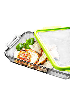 Anchor Hocking Glass 3 Piece Portable Baking Dish - Green Paisley Tote - Online Only