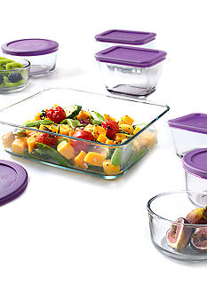 Anchor Hocking Glass 16-piece Kitchen Storage Set with Eggplant Lids