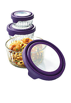 Anchor Hocking Glass 12-piece True Seal Food Storage Set With Eggplant Lids
