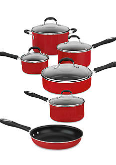 Cuisinart Advantage Nonstick Aluminum 11-Piece Red Cookware Set 5511R
