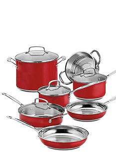 Cuisinart Chef's Classic Non-Stick Stainless Steel 11-Piece Cookware Set - Metallic Red