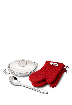 All-Clad 2qt Stainless Steel Pan with Lid, Spoon & Mitts