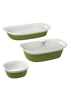 Corningware 4pc. Etch Ceramic Bakeware Set in Green - Online Only