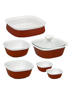 Corningware Etch 7 pc Ceramic set in Red - Online Only