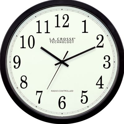 Lacrosse Technology: Black LaCrosse Technology 14-in. Atomic Analog Wall Clock - Online Only