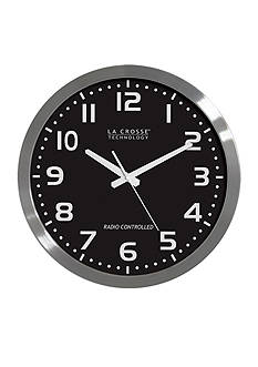 LaCrosse Technology 16-in. Stainless Steel Black Dial Atomic Clock