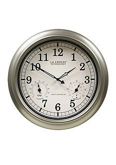 LaCrosse Technology 18-in. Indoor Outdoor Thermometer and Hygrometer Wall Clock - Online Only