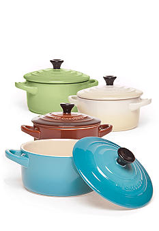 Le Creuset Set of 4 Mini Cocottes Multi Color - Caribbean, Kiwi, Dune, Chestnut - Online Only
