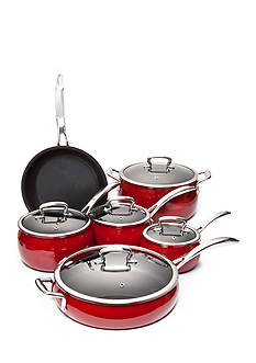 Biltmore 11-Piece Cabernet Nonstick Glazed Aluminum Belly Cookware Set
