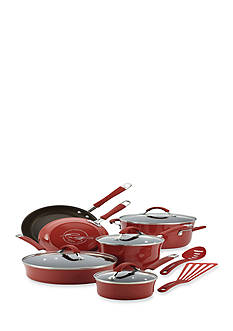 Rachael Ray Cucina Hard Enamel Nonstick 12-Piece Cookware Set, Cranberry