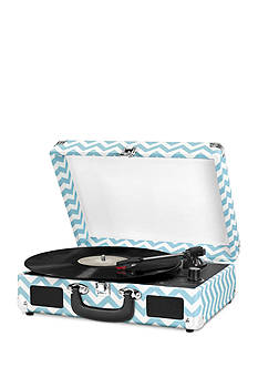 Innovative Technology Suitcase Turntable - Turquoise Chevron