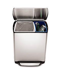 simplehuman Rectangular 16 Liter Recycler And 30 Liter Trash Can