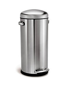 simplehuman 30-L Retro Step Trash Can in Fingerprint-Proof Brushed Stainless Steel - Online Only