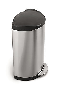 Simplehuman 40 Liter Plastic Lid Semi-round Step Trash Can - Brushed Stainless