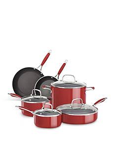 KitchenAid® 10-Piece Nonstick Aluminum Red Cookware Set