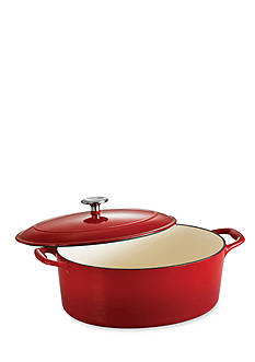Tramontina Gourmet 7-qt. Red Enameled Cast Iron Covered Oval Dutch Oven - Online Only