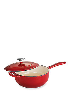 Tramontina Gourmet 3-qt. Red Enameled Cast Iron Covered Saucepan