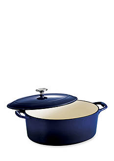 Tramontina Gourmet 7-qt. Cobalt Enameled Cast Iron Covered Oval Dutch Oven - Online Only