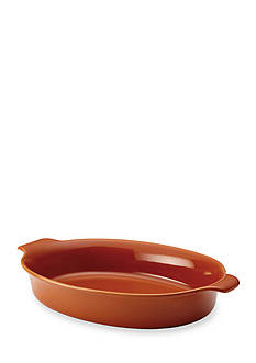 Anolon Vesta Stoneware 3-qt. Oval Au Gratin, Persimmon Orange
