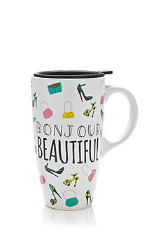 Home Accents Bonjour Beautiful Latte Mug with Gift Box