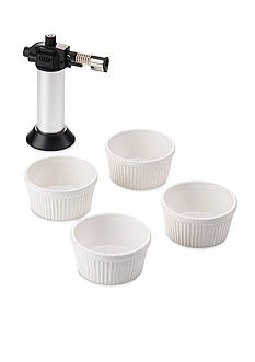 Leifheit Crme-Brulee Set with Flambe Tool, Black with White Bowls