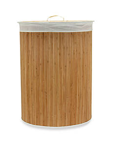 Household Essentials Oval Bamboo Hamper - Online Only