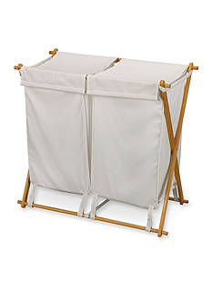 Household Essentials Fir Wood X-Frame Double Hamper - Online Only