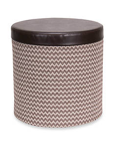 Household Essentials Round Storage Ottoman with Padded Seat, Brown chevron