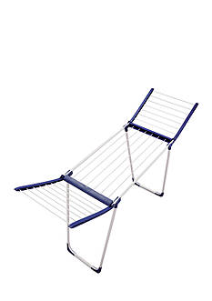 Leifheit Pegasus 120 Compact Winged Clothes Drying Rack, blue and white