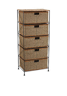 Household Essentials Seagrass/Rattan 5 Drawer Storage Unit - Online Only
