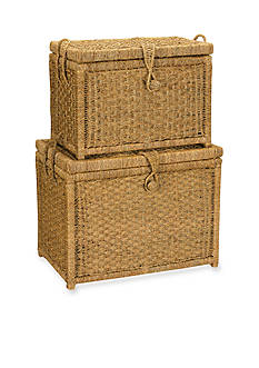 Household Essentials Seagrass Chests with Seagrass Woven Button (Set of 2) - Online Only