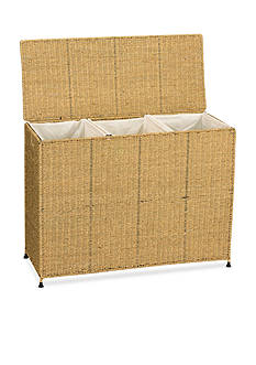 Household Essentials Seagrass Wicker Triple Sorter with Wheels - Online Only