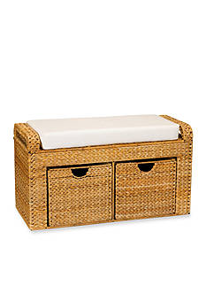 Household Essentials Banana Leaf Wicker Storage Bench - Online Only
