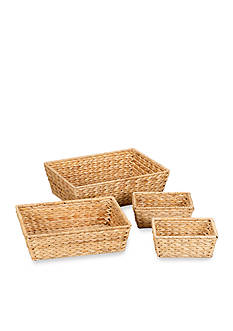 Household Essentials Banana Leaf Wicker Decorative Storage Baskets (Set of 4) - Online Only