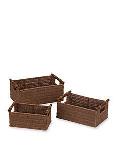 Household Essentials Paper Rope Baskets with Wood Handles (Set of 3) - Online Only