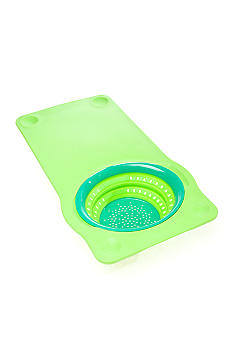 Squish Over the Sink Collapsible Colander with Non-Slip Cutting Board