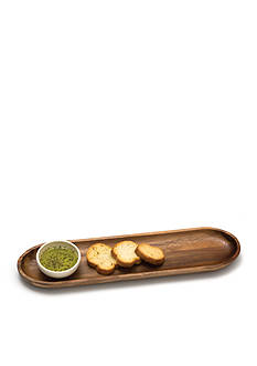 Lipper International Acacia 16 x 4 Bread Board with Ceramic Bowl