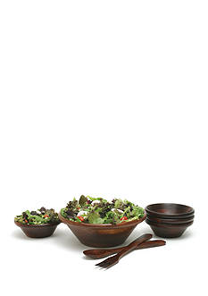 Lipper International Cherry Finished 7-Piece Salad Set and 12-in. Servers