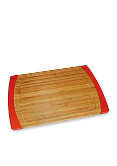 Lipper International Bamboo & Red Silicone Non-slip Small Cutting Board