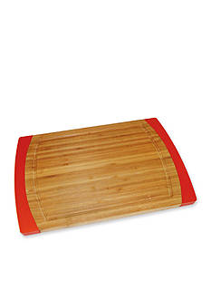 Lipper International Bamboo & Red Silicone Non-slip Medium Cutting Board