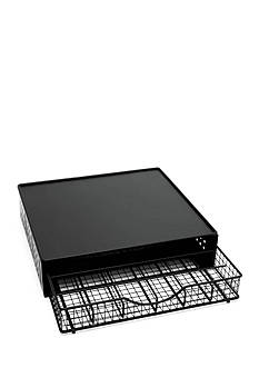 Lipper International Black Wire Coffee Maker Shelf with Storage Drawer