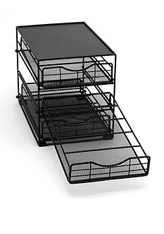 Lipper International 3 Tier In-Cabinet Black Mesh Coffee Drawer