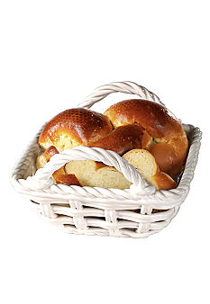 Tabletops Gallery Ceramic Hand Woven Bread Basket - Online Only