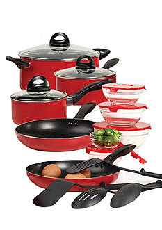 Basic Essentials Red 17-Piece Starter Cookware Set